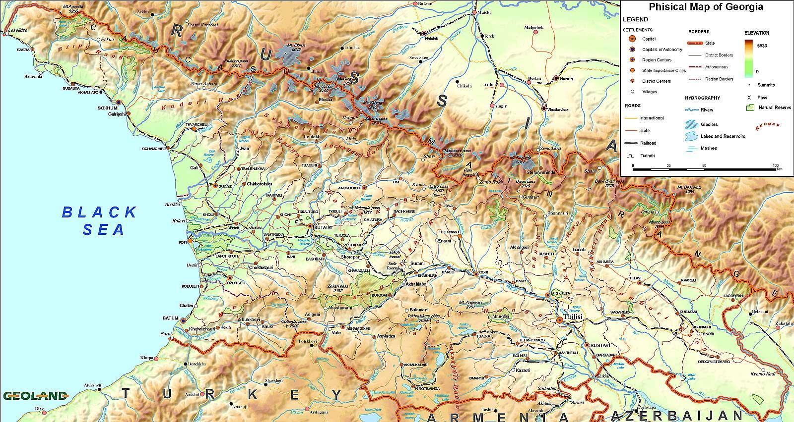 Карта Грузии физическая
